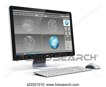 Banque d illustrations professionnel ordinateur bureau station