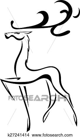 Sketch Silhouette Of Deer With Large Antlers Isolated Vector I