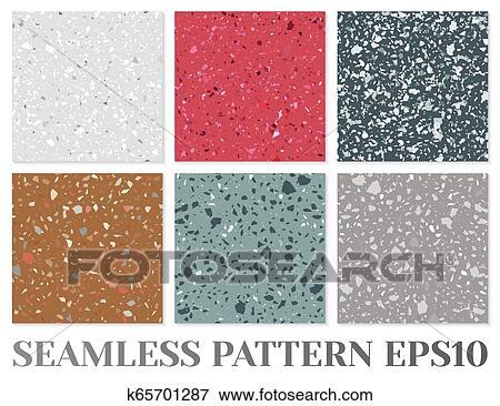 Terrazzo Flooring Vector Seamless Pattern Texture Of
