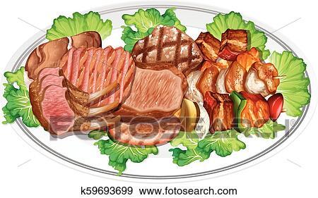 صفح من عدة أشخاص غذاء Clip Art K59693699 Fotosearch