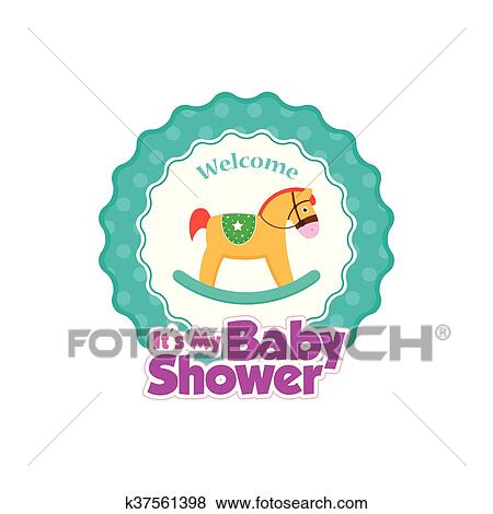 Clip Art Of Baby Shower K37561398 Search Clipart Illustration