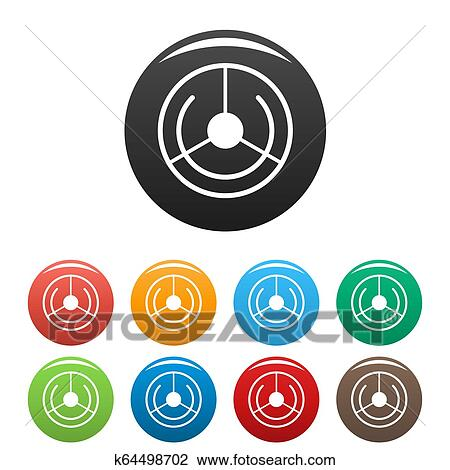 Circle Aim Target Icons Set Color Drawing K64498702