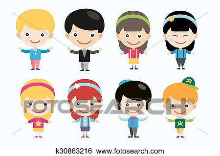 Clip Art Of Cute Cartoon Boys And Girls Together K30863216 Search