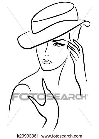 Clipart Of Elegant Young Woman In A Hat K29993361
