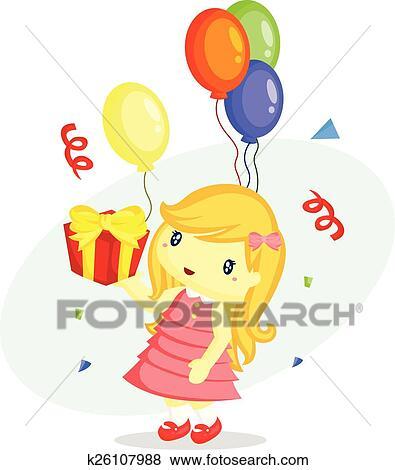 Clip Art Geburtstag Madchen K26107988 Suche Clipart Poster