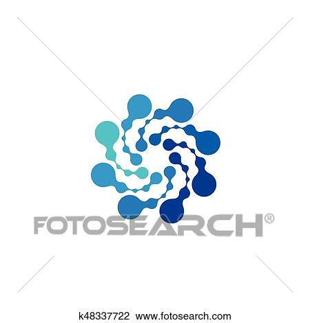 Isolated Abstract Round Shape Blue Color Logo Dotted