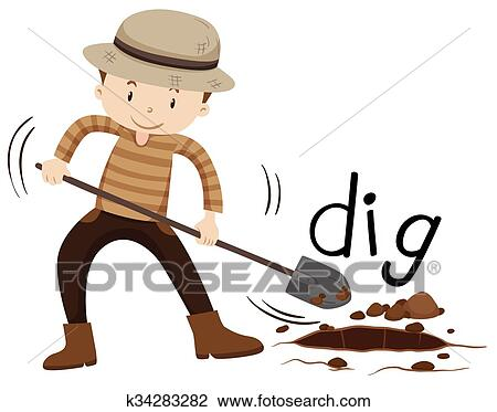 clipart of man with shovel digging a hole k34283282 search clip rh fotosearch com digging clipart black and white dog digging clipart