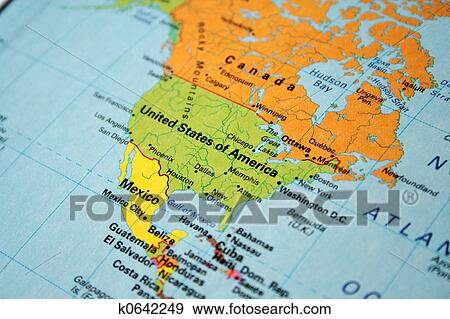 Stock Photograph of map of usa & canada k0642249 - Search Stock ...