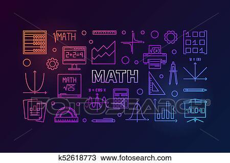 Math vector colorful horizontal banner Clipart | k52618773 ...
