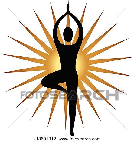 Yoga Meditation Pose And Gold Sun Logo Vector