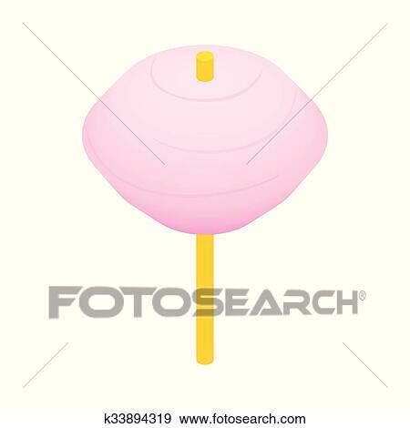 Clipart Barbe à Papa Rose Isométrique 3d Icône K33894319