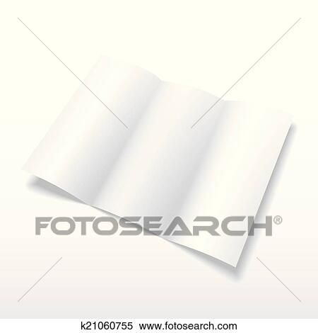 Clipart Of Blank White Vector Tri Fold Brochure Template K21060755