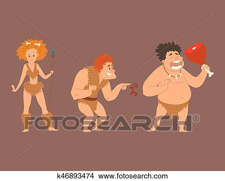 Caveman primitivo età pietra cartone animato neanderthal