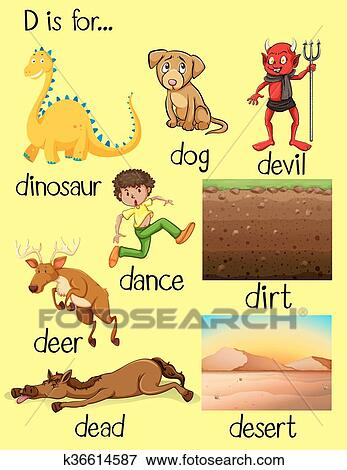 clip art of different words beginning with letter d k36614587
