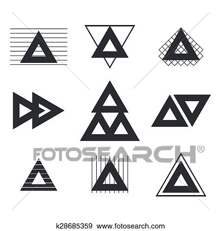 clipart ensemble de formes g om triques triangles lignes pour ton design branch. Black Bedroom Furniture Sets. Home Design Ideas