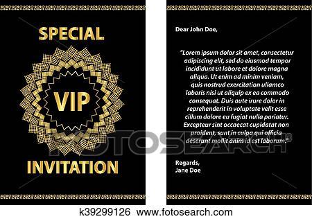 Golden Vip Invitation Template Clip Art K39299126 Fotosearch