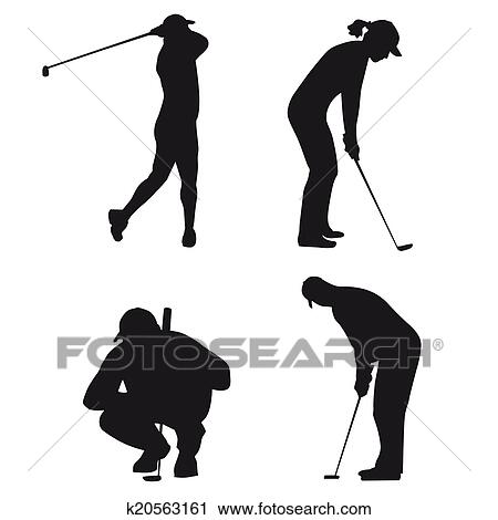 Clipart Of Golf Silhouettes K20563161 Search Clip Art