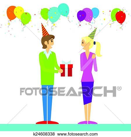 Joyeux Anniversaire Couple Homme Donner Boîte Cadeau Clipart