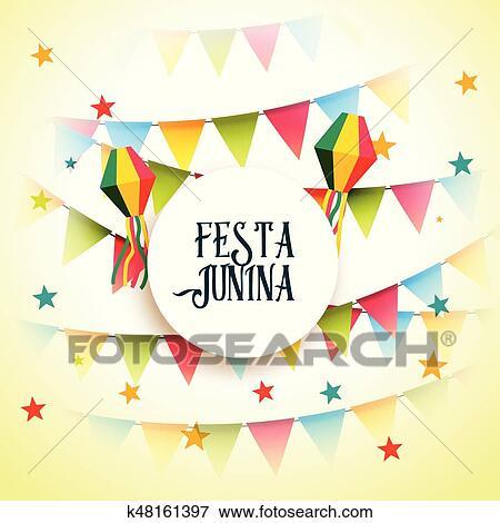 Juni Party Festa Junina Feier Gruß Hintergrund Clip