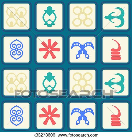 clip art of seamless pattern with adinkra k33273606 search clipart