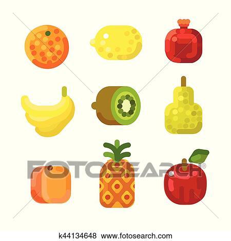Clip art stilizzato frutta set k44134648 cerca for Clipart frutta