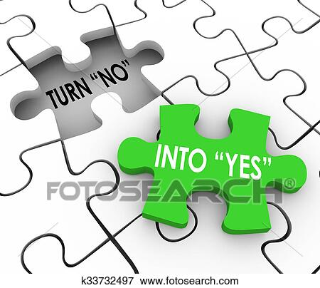 picture of turn no into yes puzzle piece resolve dispute