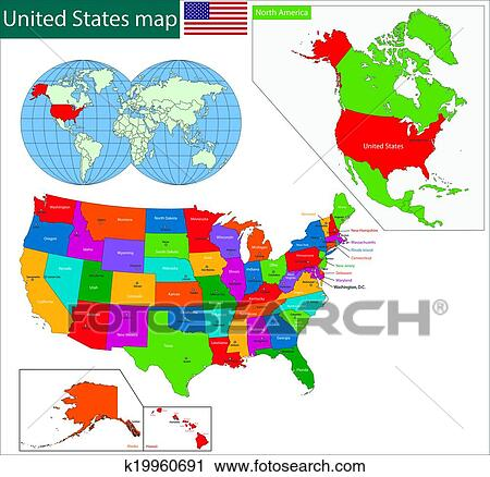 Clipart Of Colorful Usa Map K19960691 Search Clip Art