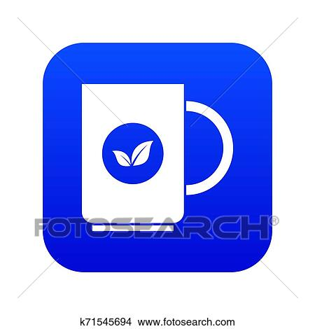 cup of tea icon digital blue stock illustration k71545694 fotosearch fotosearch