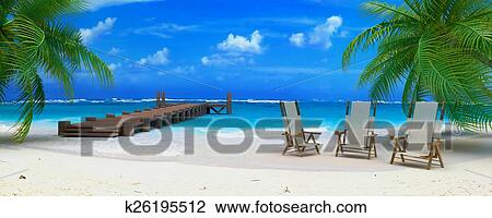 3D Rendering Of A White Sand Beach With Palm Trees And Turquoise Water Three Deck Chairs Cocktails Wooden Pier