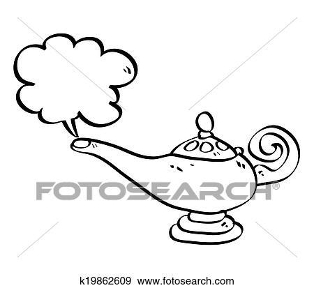 Isolé Dessin Animé Aladin Lampe à Cloud Vecteur Illustration Clipart