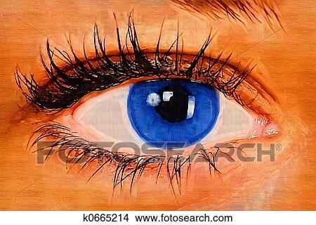 Peinture Dans L Oeil dessins - oeil, peinture k0665214 - recherche de clip arts, d