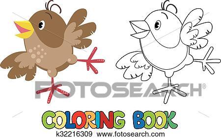 Clip Art - pequeño, divertido, gorrión, libro colorear k32216309 ...