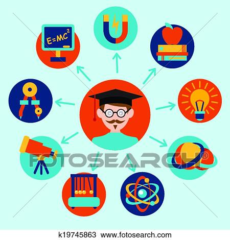 Physics Science Equipment School Laboratory Icons Set With Scientist Isolated Vector Illustration