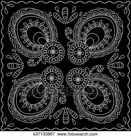 Clip Art Of Black And White Abstract Bandana Print With Element