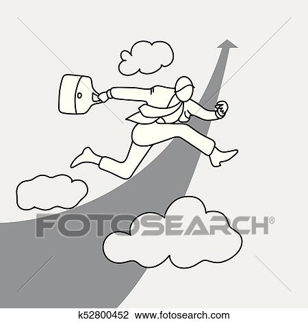 Businessman jumping over rising arrow in the sky vector ...