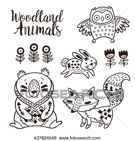 39b360e50ae25 Hand drawn vector on a white background. Coloring book. Ornamental tribal  patterned illustration for tattoo, poster, print. Tribal animal coollection  of ...