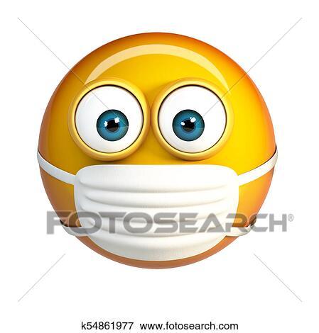 nouveau style et luxe chaussures d'automne plutôt sympa Emoji, à, hygiénique, mask., masque chirurgical, figure, emoticon. Banque  d'Illustrations