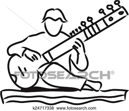 clip art of indian musician playing the sitar k24717338 search rh fotosearch com