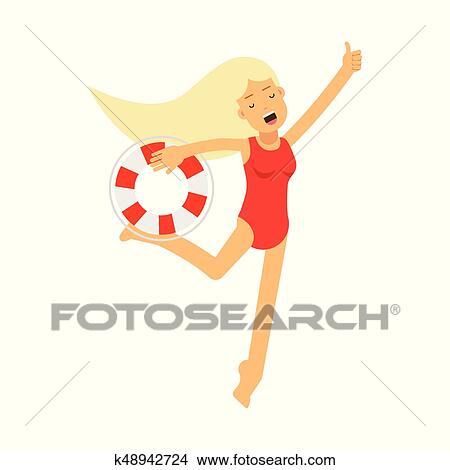 cee43e5ba791 Clipart - Lifeguard girl character in a red swimsuit running with lifebuoy  vector Illustration. Fotosearch