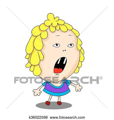 Vecteur Couleur Dessin Animé Image De A Mignon Peu Girl Clipart