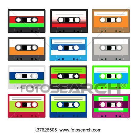 型 カセットテープ コレクション イラスト K37626505 Fotosearch