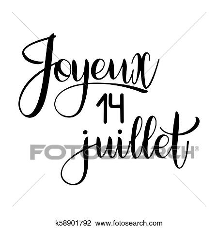 Clipart Of Bastille Day Hand Drawn Lettering K58901792