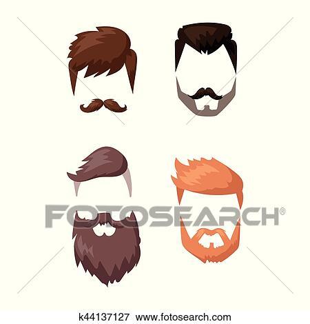 Clipart Coiffure Barbe Et Cheveux Figure Coupure Masque