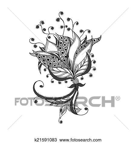 Fantasme Fleur Noir Blanc Tatouage Modèle Dessin