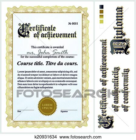 Clipart Of Gold Certificate Template Vertical K20931634 Search