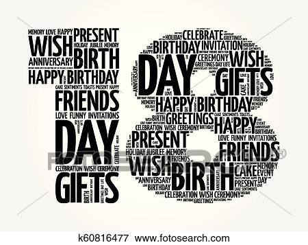 Happy 18th Birthday Word Cloud Clip Art K60816477