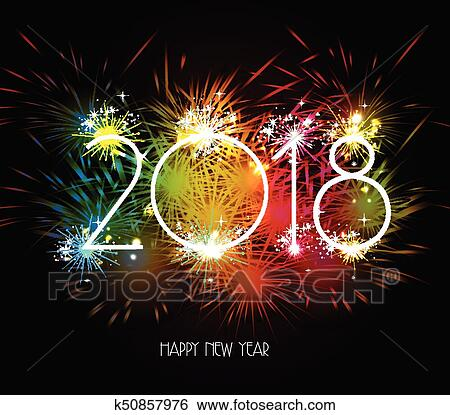 clip art happy new year 2018 fireworks colorful fotosearch search clipart illustration