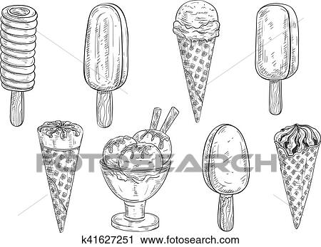 clipart of ice cream vector isolated pencil sketch k41627251