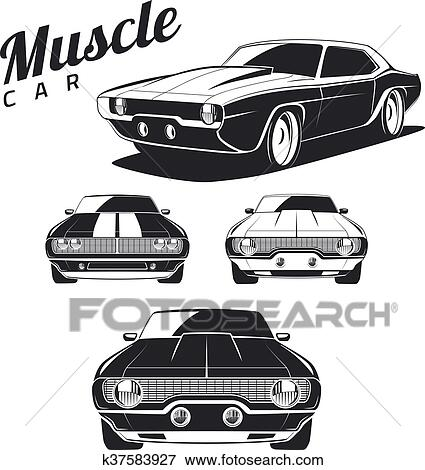 Clip Art Of Muscle Car Isolated K37583927 Search Clipart