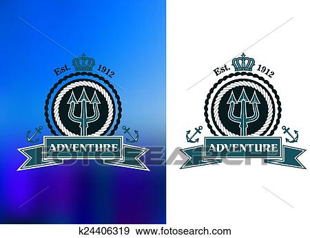 Clip Art Of Nautical Heraldic Emblem With Trident K24406319 Search